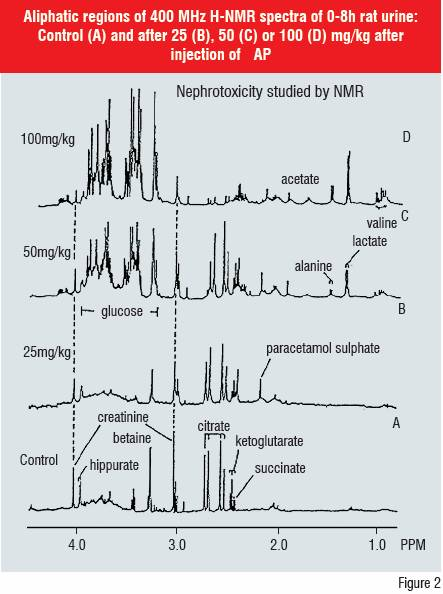 Figure 2:Aliphatic regions of 400 MHz H-NMR spectra of 0-8h rat urine: Control (A) and after 25 (B), 50 (C) or 100 (D) mg/kg after injection of AP